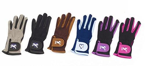 Ovation Child Heart & Horse Gloves,Purple/Black,size A 8-10