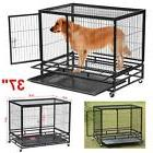 Heavy Duty Black 37'' Dog Crate Cage Kennel Metal Pet