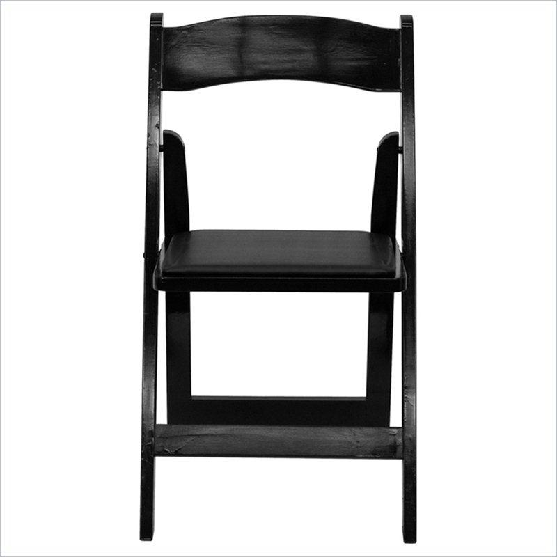 HERCULES Series Wood Folding Chair with Padded Vinyl Seat