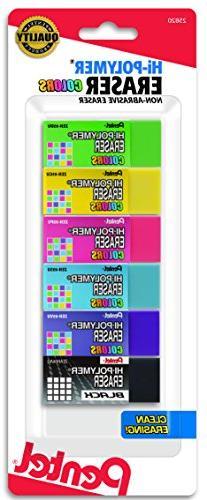 Pentel Hi-Polymer Block Eraser, Small, Assorted Colors, 6