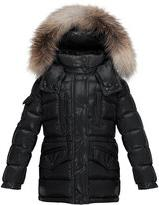 Moncler Hooded Fur-Trim Button-Front Puffer Coat, Black,
