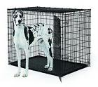 "HUGE XXL LARGE Dog Crate 54"" Kennel w Double Doors Gray Tray"