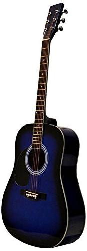 """41"""" Inch Full Size Blue Handcrafted Steel String Dreadnought"""
