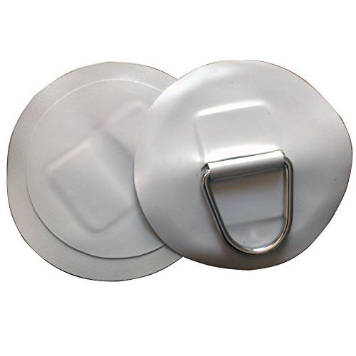 2 PCS Inflatable Boat Stainless Steel D-Ring Light Gray PVC
