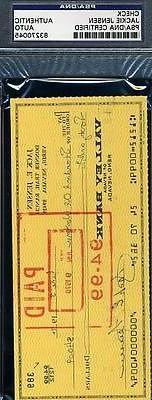 Jackie Jensen Signed Psa/dna 1970 Check Autograph