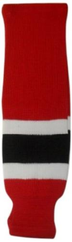 DoGree Hockey New Jersey Knit Hockey Socks, Red/White/Black