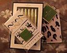 Kate Spade Leopard Pencil Pouch, Notepad And Five Gold Pens