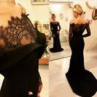 Lace Mermaid Black Long Prom Dress Pageant Formal Evening