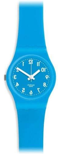 Swatch Lady Cyan Blue Dial Silicone Ladies Watch LS112