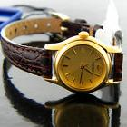 Seiko Lady's Watch Round Gold-Tone Dial Brown Embossed