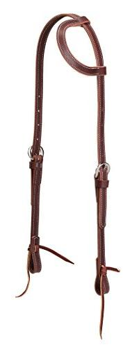 Latigo Leather Flat Sliding Ear Headstall, Burgundy