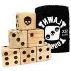 "Set of 6 Lawn Bones 3.5"" Jumbo Pine Wood Dice with Carry Bag"