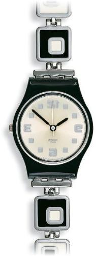Swatch LB160G chessboard white dial stainless steel bracelet