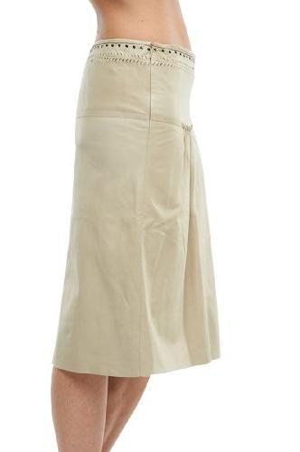Roberto Cavalli - Leather Skirt Cream, 40, Beige