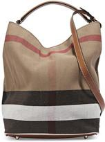Burberry Leather-Trimmed Checked Canvas Hobo Bag Shoes &