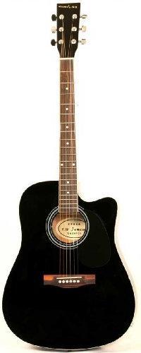 Left Handed Black Acoustic Electric Guitar Full Size