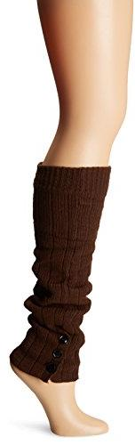 Steve Madden Legwear Women's Button Leg Warmer, Chocolate,
