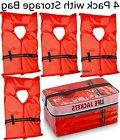 Life Jacket Vest Preserver 4 Pack Type II Orange Adult