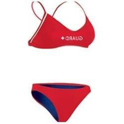 Adoretex Womens Lifeguard Poly Workout Bikini  - Red - XX-