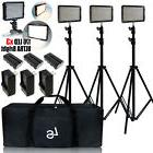3 x 176 LED Video Light Batteries Charger Stand Kit with