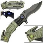 US ARMY LED Light Tactical Rescue Spring Assisted Pocket Folding Knife Open New