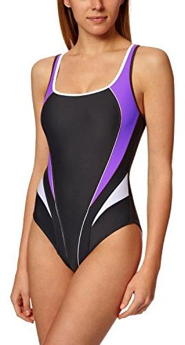 AQUA SPHERE Lima Ladies Swimsuit, Black/Pink, 30in