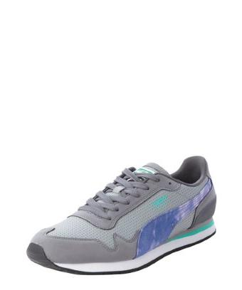 Puma limestone perforated leather and suede and canvas lace