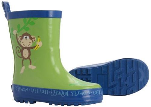 Stephen Joseph Little Boys' Monkey Rain Boots, Jungle Green