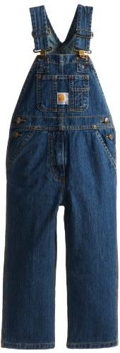 Carhartt Little Boys' Washed Denim Bib Overall, Worn In Blue