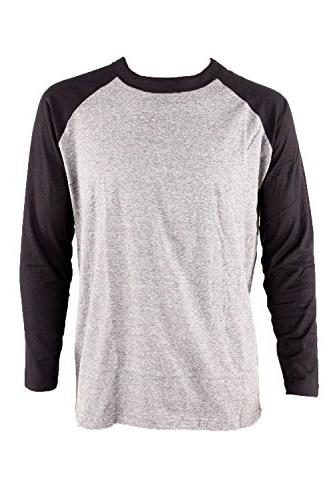 Men's Long Sleeve Baseball Raglan Shirt-Gray/Navy-Medium