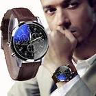 Luxury Men's Date Watch Stainless Steel Leather Military
