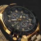 Mens Luxury Gold Stainless Steel Black Dial Date Quartz