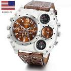 Luxury Quartz Sport Military Stainless Steel Dial Leather