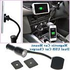 Magnetic Car Mount Dual USB Charger Holder Stand for Mobile