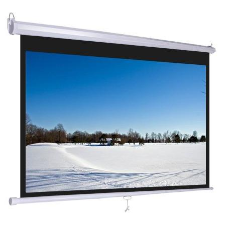 Wall Mount Manual Pull Down Projector Screen 1:1 Aspect