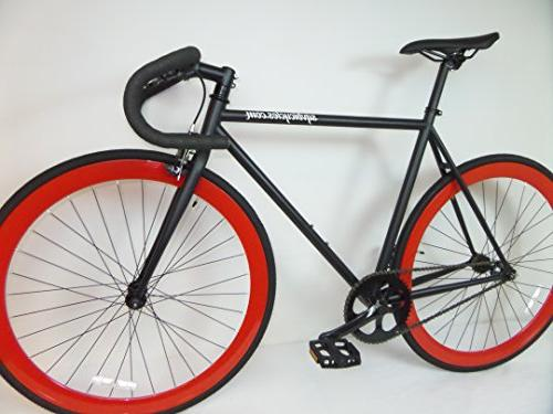 Matte Black and Red Fixie with Drop Bars Single Speed Fixie