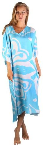 Maxi Caftan Poncho Butterfly Blue