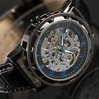 Mens Mechanical Skeleton Wrist Watch Analog Stainless Steel