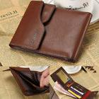 Men's Bifold Leather ID Card Holder Multi Pocket Thin Wallet