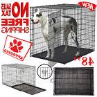 """48"""" Extra Large Metal Pet Dog Kennel Crate Folding Cage"""