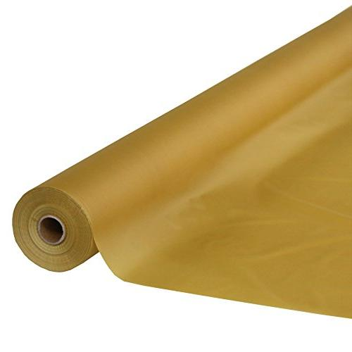 Metallic Gold Plastic Table Cover Roll 300 Feet