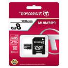 Transcend MicroSDHC 8GB C10 Micro SD Card w/ Adapter for