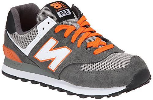 Men's ML574 Core Running Shoe,Grey/Orange,6.5 D US