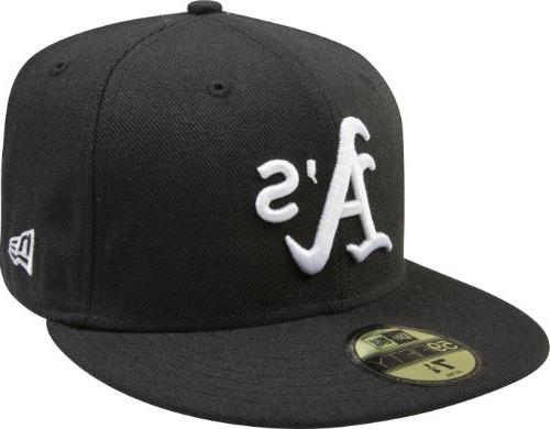 MLB Oakland Athletics Black with White 59FIFTY Fitted Cap, 7