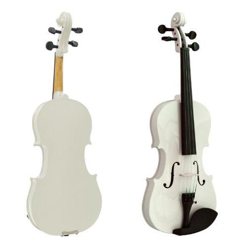 Mendini 1/8 MV-White Solid Wood Violin with Hard Case,