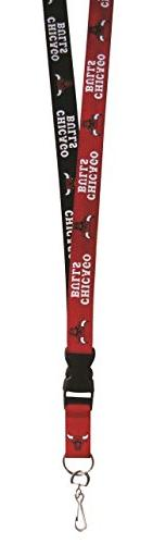 NBA Chicago Bulls Two Tone Lanyard, Black, One Size
