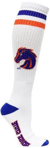 NCAA Boise State Broncos Men's Heel Toe Tube Socks, White/