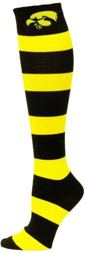 NCAA Iowa Hawkeyes Gold and Black Stripe Dress Socks