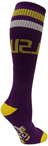 NCAA LSU Tigers Gold Heel/Toe Tube Socks, Purple, One Size