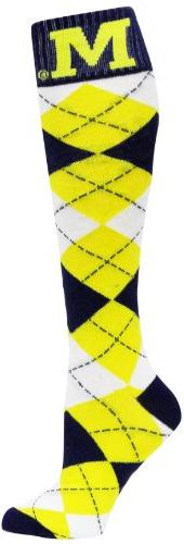NCAA Michigan Wolverines Argyle Socks, Blue/Maize/White